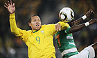 Luis Fabiano, left, in the build-up to his second goal for Brazil against Ivory Coast