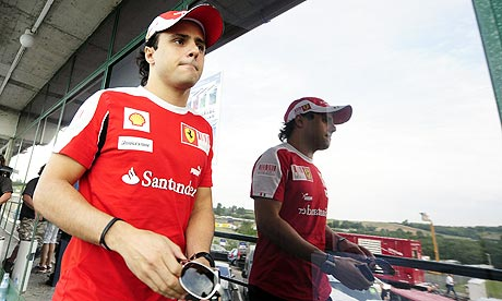 Felipe Massa leaves the drivers' meeting at the Hungaroring circuit in Budapest today