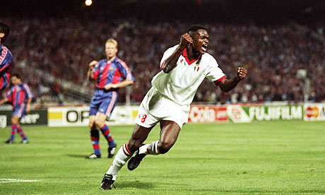 Marcel Desailly celebrates scoring in Milan's 4-0 win against Barcelona in the 1994 Champions League
