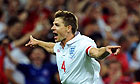 Steven Gerrard celebrates scoring the second of his two goals in England's 2-1 win over Hungary