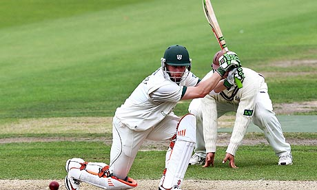 Alexei Kervezee strikes the ball during Worcestershire's Division Two match against Surrey