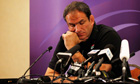 The England team manager Martin Johnson speaks after elimination from the World Cup