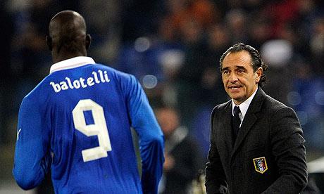 Prandelli with Balotelli