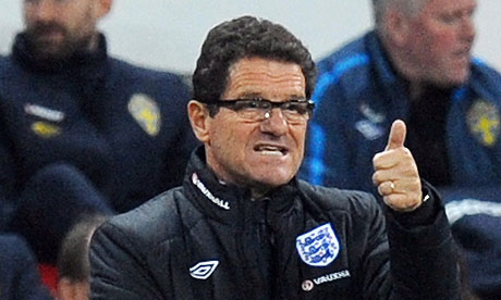 Fabio Capello, the England manager, gives the thumbs up to his team
