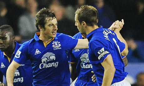 Leighton Baines dan Phil Jagielka | images courtesy: The Guardians.