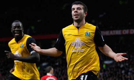 Blackburn Rovers' Grant Hanley celebrates