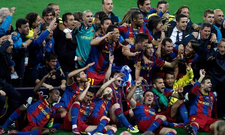 Barcelona celebrate winning the Champions League final against Manchester United