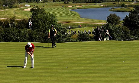 graeme mcdowell twitter. Graeme McDowell putts on the 17th green while his playing partner and Ryder Cup team-mate Peter Hanson looks on. Photograph: David Davies/PA