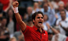 Roger Federer celebrates winning against Novak Djokovic. Federer will play Rafael Nadal in the final