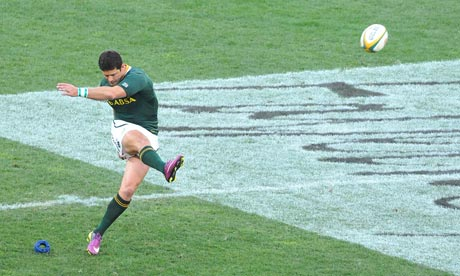 South Africa's Morne Steyn scores a penalty conversion