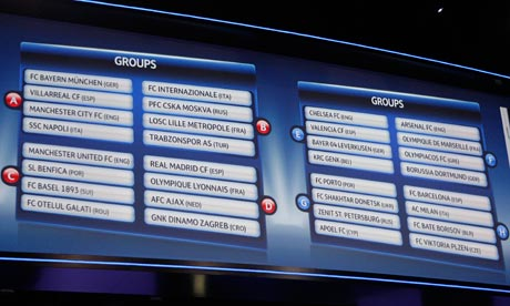 A view of a screen displaying the groups in the 2011-12 Champions League