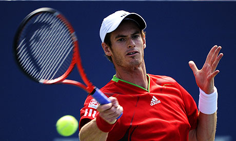 Andy Murray hits a forehand back at India's Somdev Devvarman