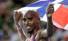 Mo Farah celebrates winning the 5,000m at the world championships