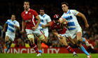 Argentina's wing Juan Imhoff scores against Wales