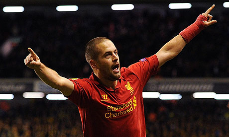 Joe Cole of Liverpool celebrates his goal
