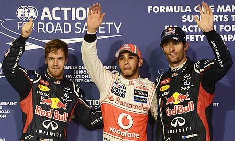 McLaren's Lewis Hamilton, Red Bull's Mark Webber and Sebastian Vettel after Abu Dhabi F1 qualifying