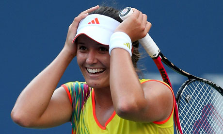 Laura Robson celebrates beating Lim Clijsters