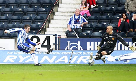 Kilmarnock's Paul Heffernan scores the opening goal in his team's 2-0 win against Motherwell