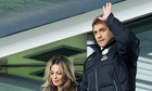 Stilian Petrov, the Aston Villa captain, acknowledges the applause from both Villa and Chelsea fans.