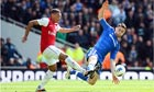 Arsenal's Alex Oxlade-Chamberlain and Gary Cahill of Chelsea