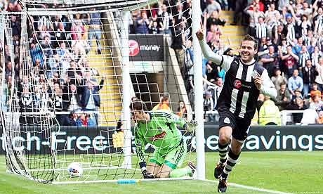 Yohan Cabaye scores the first goal for Newcastle United against Stoke City