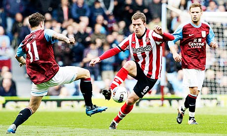Aston Villa's Chris Herd, left, in action with Sunderland's Craig Gardner