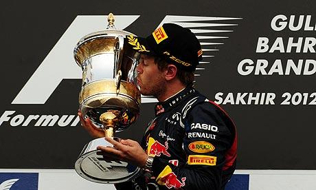 Sebastian Vettel, the Red Bull driver, enjoys the moment after winning the Bahrain Grand Prix