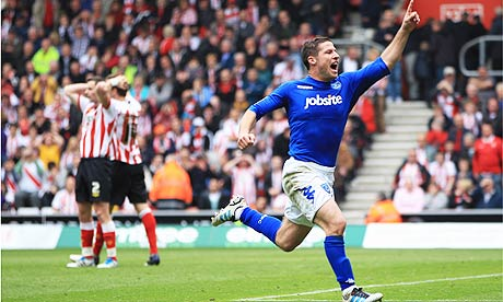 David Norris of Portsmouth celebrates scoring against Southampton