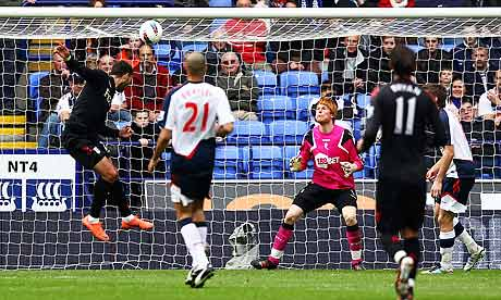 Fulham's Clint Dempsey scores his second goal against Bolton Wanderers