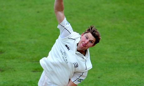 Middlesex's Ollie Rayner bowls against Nottinghamshire