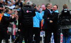 The Manchester City manager, Roberto Mancini, celebrates with his backroom staff