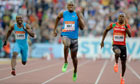 Usain Bolt, centre, clocked his slowest ever 100m time
