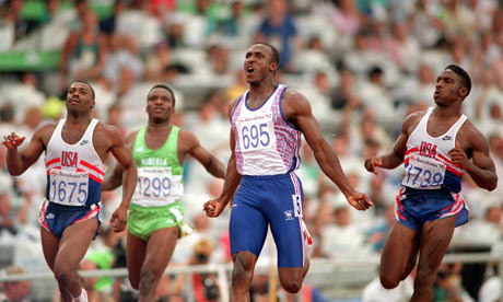Linford Christie winning 100m 1992