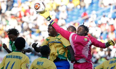 Gabon's goalkeeper Didier Ovono