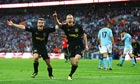Wigan Athletic's Ben Watson, right, celebrates scoring in the FA Cup final against Manchester City