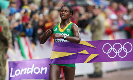 Ethiopian Tiki Gelana won the marathon at London 2012