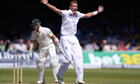 Stuart Broad dismisses Michael Clarke lbw during the second Ashes Test