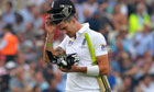 England's Kevin Pietersen walks off after being out for 50 against Australia