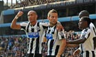 Newcastle United's Yoan Gouffran, left, is congratulated after scoring against Aston Villa