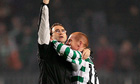 Martin O'Neill and Neil Lennon after Celtic's 1-1 draw against Barcelona in 2004