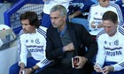 Chelsea's manager José Mourinho reaches for a pen in the Premier League match against Everton