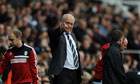 Fulham's Manager Martin Jol points during the Premier League match against West Brom