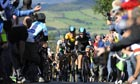 Sir Bradley Wiggins, centre, powers his way up Caerphilly mountain on Tour of Britain