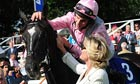 The Fugue and William Buick are welcomed by Lady Lord Webber after the Yorkshire Oaks