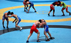 Iran's national free-style wrestling team trains in Tehran