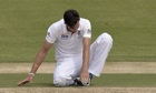 England's Steven Finn lost his footing while bowling in the tour match at Traeger Park in Australia