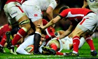 England's Toby Flood is stopped inches from the try-line in last season's Six Nations match in Wales