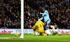 Yaya Touré scores Man City's second goal past Swansea's Lucasz Fabianski in the Premier League