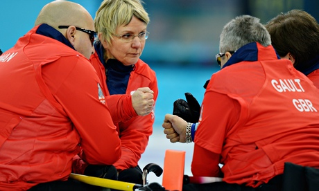 Great Britain's squad talk tactics during the wheelchair curling at the Winter Paralympics