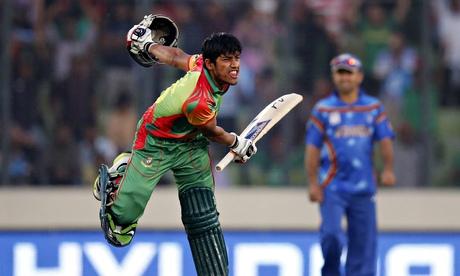 Bangladesh's batsman Anamul Haque celebrates after hitting the winning shot.